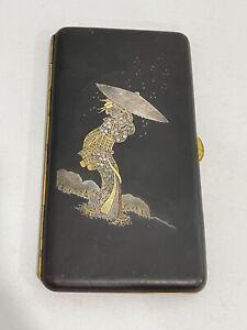Vtg Antique Japanese Signed Komai Damascene Inlay Cigarette Case Woman Snow Rain