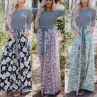 Women Stripe Boho Floral Long Maxi Dress Long Sleeve Party Wedding Beach Casual