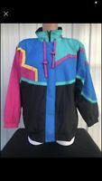 Vintage Women's 1XL 1980s 1990s Windbreaker Jacket Eunice Color Block Hipster