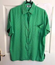 Jacques Vert Green Shirt Blouse Vtg Spotty Size M Shiny Satin Festival Funky