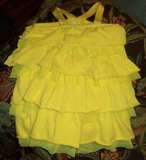 Girls Kids Headquarters Bright Yellow Tiered Dress for Little Girl Size 4