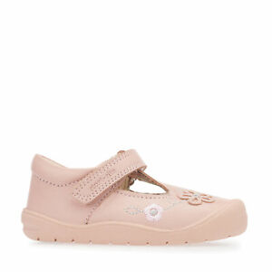 Start-Rite First Mia, Pink Leather Girls Riptape T-bar First Walking Shoes