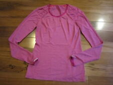 LULULEMON SILVER BULLET LONG SLEEVE TEE HEATHERED RASBERRY SIZE 6 reflective