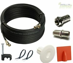 5m Twin Satellite Cable Extension Kit For Sky+ HD With Grommet,Brick burst,Ties
