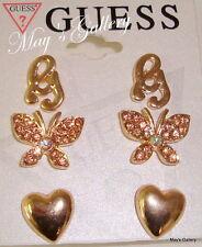 GUESS Rhinestones Trio Earring Earrings Post 3 set  Gold  Butterfly  Heart  NWT