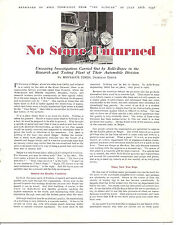 "Rolls Royce  Article Reprint  ""No Stone Unturned""  Autocar July 16, 1948"