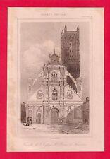 Façade de l'église St-Pierre à Auxerre  GRAVURE 1845  FRANCE XVI