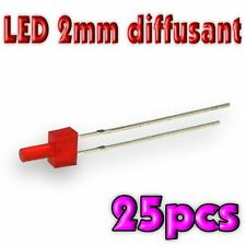 307/25# LED 2mm rouge diffusant canon long 25pcs