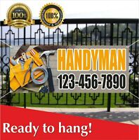 HANDYMAN Vinyl / Mesh Banner Sign Repair Service Help, Husband for an hour -)