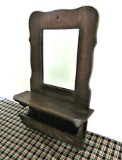 "Antique Mirror Shaving Victorian Primitive Country Oak Wood Decorated, 18"" x 12"""