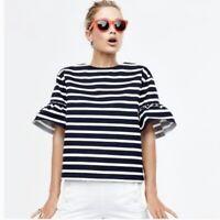 J. Crew Nautical Blue Ruffle Sleeve Striped Shirt Women's Size XS 100% Cotton