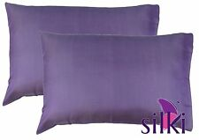 1 Pair: LILA 100% MULBERRY PURE SILK PILLOW CASES COVER 19 momme Queen Standard
