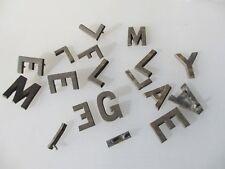 """Vintage Brass Letters machine door sign Antique Old Job Lot Bulk Letter 1.75""""h"""