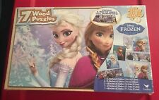 NEW Disney's Frozen 7 Wood Puzzles In Wooden Storage Box