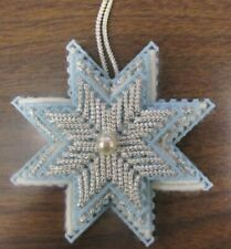 Handmade Plastic Canvas Needlepoint Ornament 3-D Star Silver/Blue