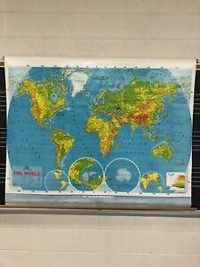 VINTAGE PULL DOWN SCHOOL WORLD MAP 1989/90