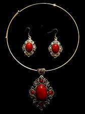Choker Necklace Earrings Vintage Antique Effect Silver Red Bohemian A1051