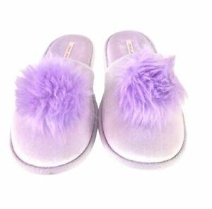 Victoria's Secret Purple Pom Pom Slippers Size L 9-10 Limited Edition