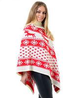 Womens Ladies Christmas Reindeer Pom Pom Vintage Cape Poncho Novelty Cardigan