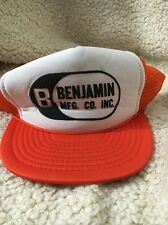 Trucker Hat Orange Mesh SnapBack Benjamin MFG CO INC Baseball Hat