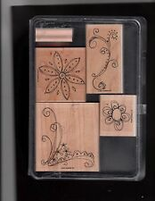 Stampin' Up! Wood Mounted Stamp Set Doodle This Set Rubber on Wood with box 5 st