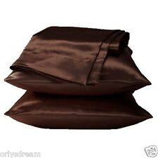 "KING -TWO SOFT ""SILKY"" SATIN / SATEEN PILLOW CASE / COVER- COFFEE BROWN (1 PAIR)"