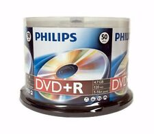 50 PHILIPS Blank DVD+R Plus R Logo Branded 16X 4.7GB Media Disc Cake Box