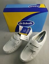 Dr Scholls White Leather Dbl Hook/loop Woman's Size 6 1/2W Nurse shoes NIB