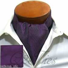 Mini Stripes PURPLE Free Style Ascot Cravat & Hanky 2pcs Set Prom Wedding Formal