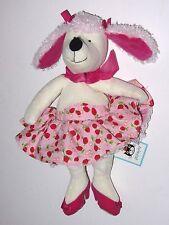 "RARE JellyCat Lana Cane Barboncino FRAGOLA dress 10"" giocattolo morbido con tag (J281)"