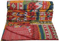 Multi Ikat Kantha Quilt Handmade Bedspread Twin Size Reversible Gudari Blanket