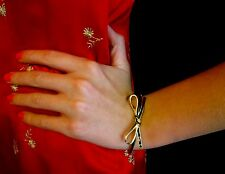 Kate Spade Black Gold Trim Skinny Bow Hinged Bangle Bracelet CUFF BEAU Dust Bag