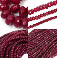 AAA Genuine Natural Faceted Brazil Red Ruby Gemstone Rondelle Loose Beads 15""