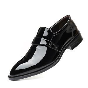 Men Slip On Black Patent Leather Tuxedo Loafer Office Wedding Formal Dress Shoes