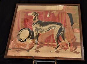 Framed Detailed Needlepoint Grey Hound Dog Top Hat White Gloves Pig Foot Stool
