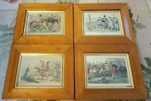 LOT OF 4 ANTIQUE FRAMED JOHN LEECH 1864 ENGLISH HAND COLORED ENGRAVINGS 2 SIGNED