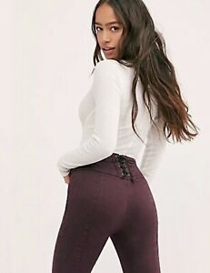 Free People Pant Jean CRVY Hi Rise Stretch Back Lace Up Zip Flare Purple 29 NEW