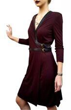 Recent Gucci Burgundy Red Leather Trim Faux Wrap Dress 44 Retail 2000$