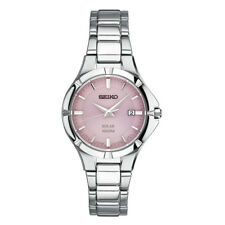 Seiko Solar Women's Pink Dial Silver Tone Stainless Steel Watch SUT315