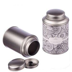 8 Teedosen mit extra Aromadeckel Ø 8,7cm, Höhe 13,9cm, stapelbar inkl. Etiketten