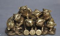 "4"" chinese brass fengshui Auspicious wealth money coin Swine pig Porcine statue"