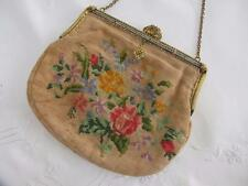 Vintage década de 1930 Floral Tapiz Para Bordar & Dorado Enmarcado Cartera Bolso de mano