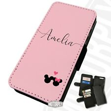 Printed Faux Leather Flip Phone Case For Huawei - Custom Minnie Mickey Heart