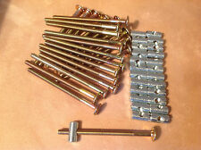 20-FURNITURE/BED BOLTS W/BARREL NUTS 100 mm x 6 mm, BRASS-COLOR-A-HARD TO FIND