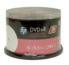 ($0 P & H) HP 50 Pack DVD+R DL 8.5GB Dual Layer 8X Blank DVD DL Inkjet Printable