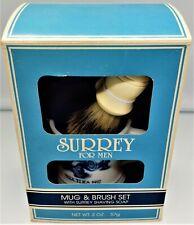 Mid Century Surrey Mercedes Shaving Gift Set~Milk Glass~Boar Brush~NIB~USA Made
