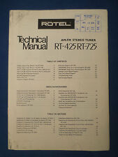 ROTEL RT-425 RT-725 TUNER TECHNICAL SERVICE MANUAL FACTORY ORIGINAL