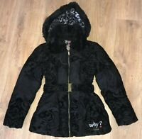 Desigual Style 46E2925 womens black floral pattern belted puffer Jacket size 38