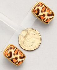 Chico's Signed Post Earrings Gold Tone Oblong Leopard Print Orange Brown