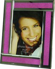 "Pink / Purple Crystal Mirror 5x7"" Photo Frame - 4036"